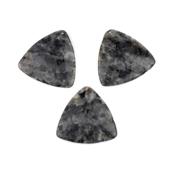 Black Labradorite/Larvikite 35mm Top Front to Back Drilled Puff Triangle Pendant - 1 per bag