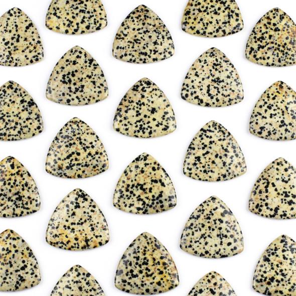 Dalmatian Jasper 35mm Top Front to Back Drilled Puff Triangle Pendant - 1 per bag