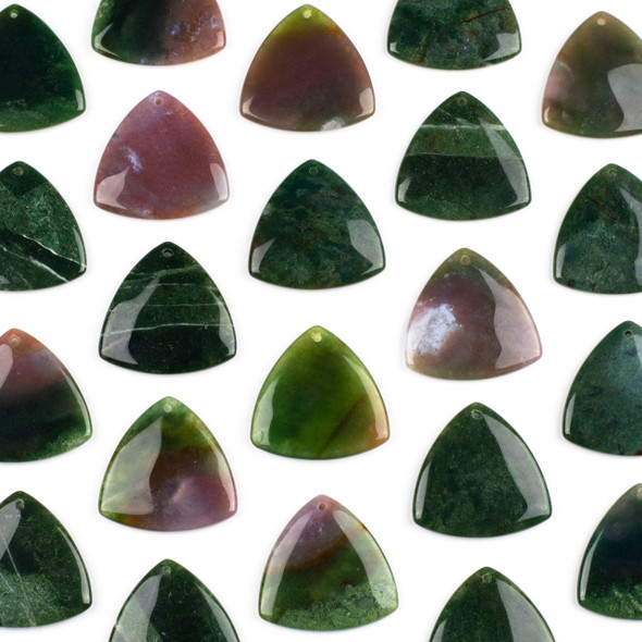 Fancy Jasper 35mm Top Front to Back Drilled Puff Triangle Pendant - 1 per bag