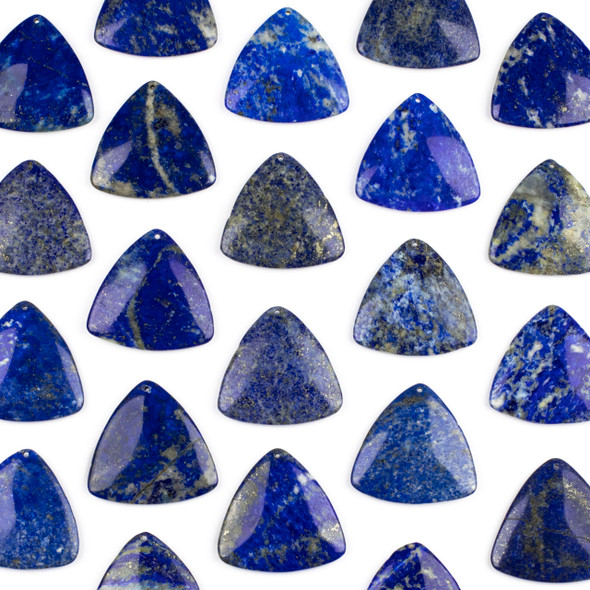 Lapis 35mm Top Front to Back Drilled Puff Triangle Pendant - 1 per bag