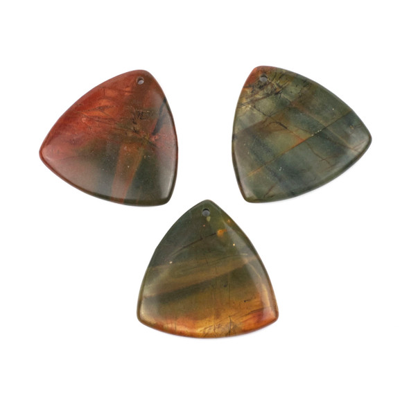 Red Cherry Creek Jasper 35mm Top Front to Back Drilled Puff Triangle Pendant - 1 per bag