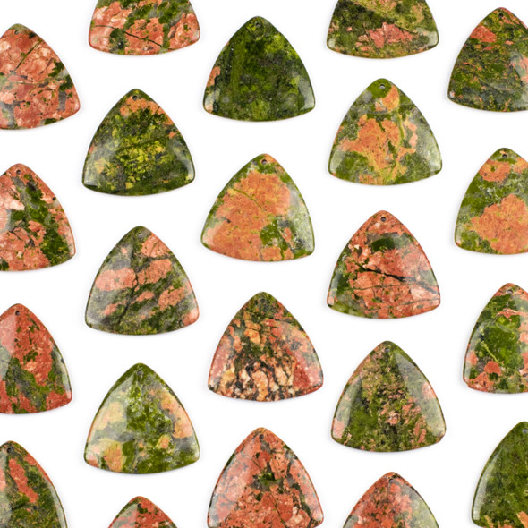 Unakite 35mm Top Front to Back Drilled Puff Triangle Pendant - 1 per bag