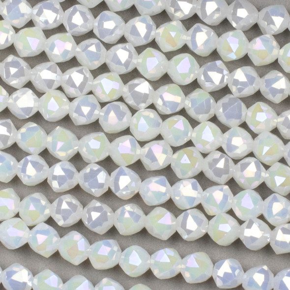 Crystal 8mm Faceted Star Cut Beads - Milky White with an AB finish, 16 inch strand