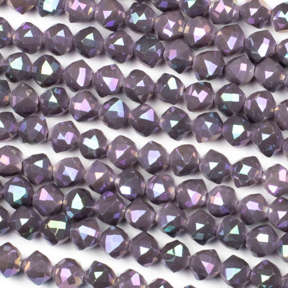 Crystal 8mm Faceted Star Cut Beads - Opaque Plum Purple with an AB finish, 16 inch strand