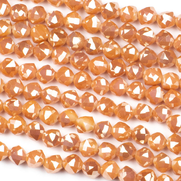 Crystal 8mm Faceted Star Cut Beads - Opaque Apricot with a Golden AB finish, 16 inch strand