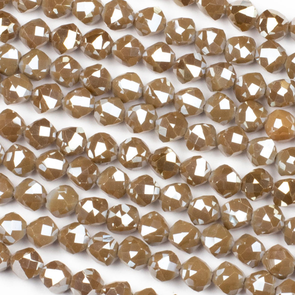 Crystal 8mm Faceted Star Cut Beads - Opaque Chocolate Brown, 16 inch strand