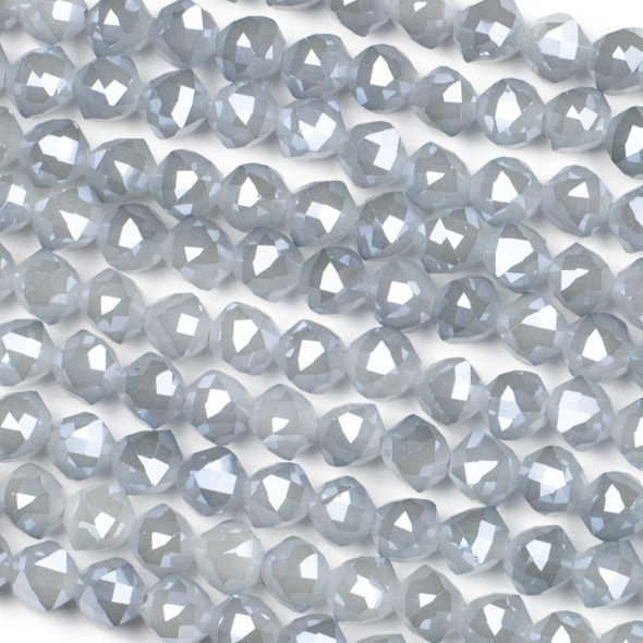 Crystal 8mm Faceted Star Cut Beads - Opaque Light Harbor Grey, 16 inch strand
