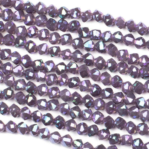 Crystal 6mm Faceted Star Cut Beads - Opaque Plum Purple with an AB finish, 16 inch strand