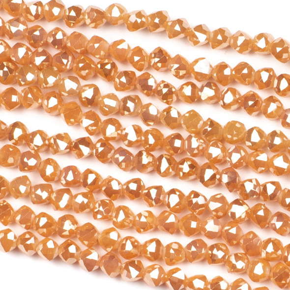 Crystal 6mm Faceted Star Cut Beads - Opaque Apricot with a Golden AB finish, 16 inch strand