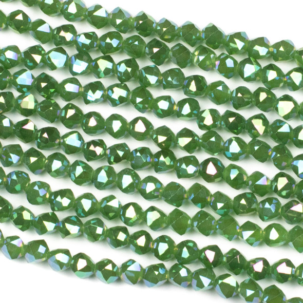 Crystal 6mm Faceted Star Cut Beads - Opaque Basil Green with an AB finish, 16 inch strand