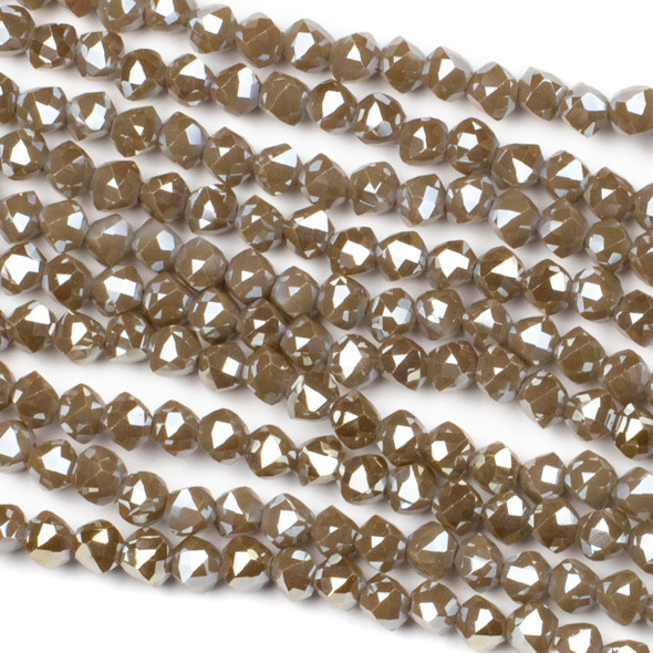 Crystal 6mm Faceted Star Cut Beads - Opaque Chocolate Brown, 16 inch strand