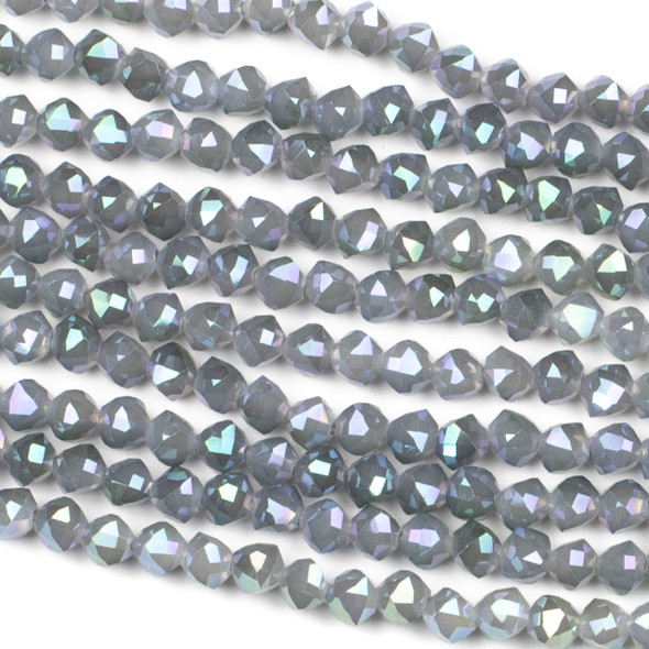Crystal 6mm Faceted Star Cut Beads - Opaque Cinder Grey with an AB finish, 16 inch strand
