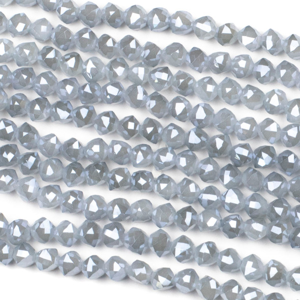 Crystal 6mm Faceted Star Cut Beads - Opaque Light Harbor Grey, 16 inch strand