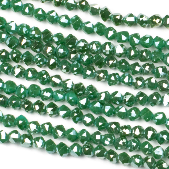 Crystal 6mm Faceted Star Cut Beads - Opaque Spruce Green with a Golden AB finish, 16 inch strand