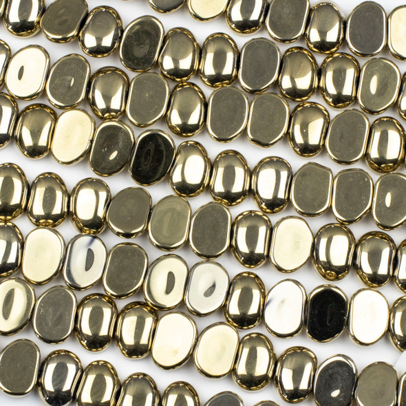 Glass 11x16mm Gold Pebble Beads - 16 inch strand