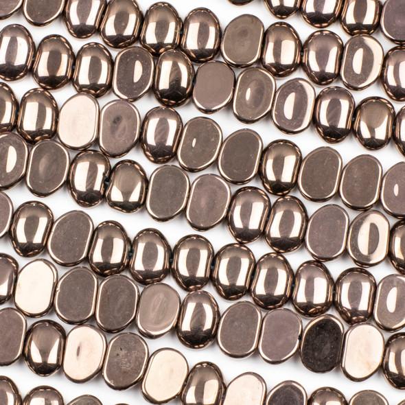 Glass 11x16mm Bronze Pebble Beads - 16 inch strand