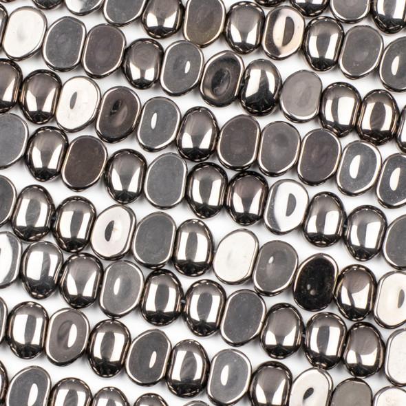 Glass 11x16mm Gun Metal Pebble Beads - 16 inch strand