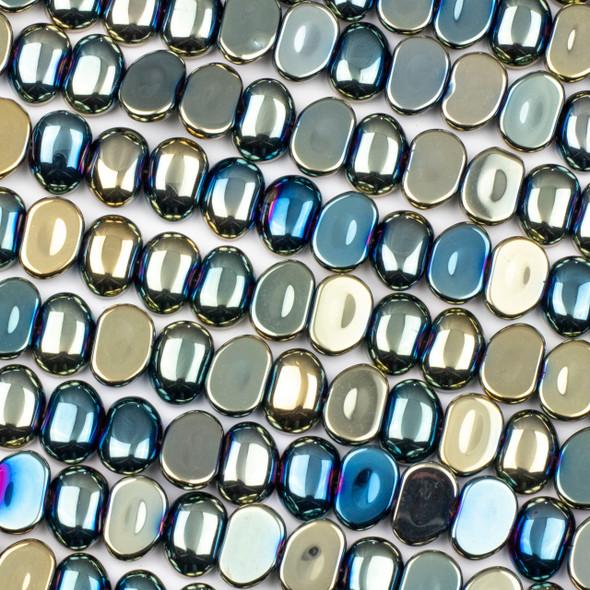 Glass 11x16mm Blue Green Rainbow Pebble Beads - 16 inch strand