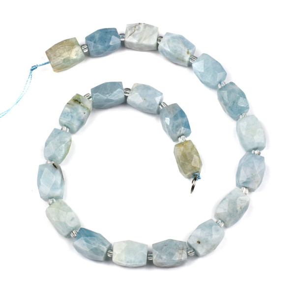 Aquamarine 12x16mm Faceted Nugget Beads - 16 inch strand