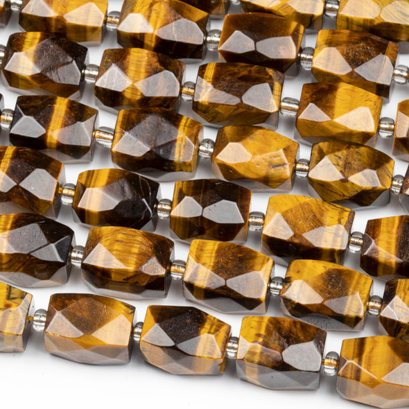 Yellow Tigereye 12x16mm Faceted Nugget Beads - 16 inch strand