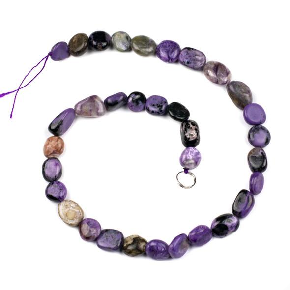 Charoite 10x14mm Pebble Beads - 16 inch strand