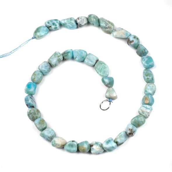 Larimar 10x14mm Pebble Beads - 16 inch strand