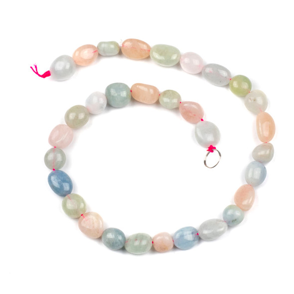 Morganite 10x12mm Pebble Beads - 16 inch strand