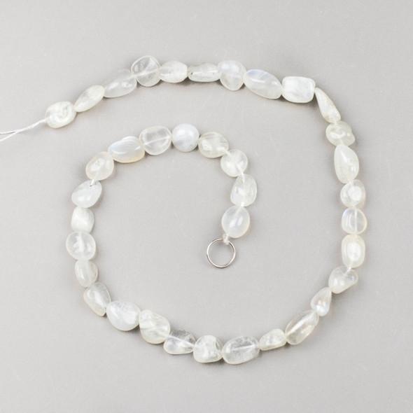 Rainbow Moonstone 10x12mm Pebble Beads - 16 inch strand