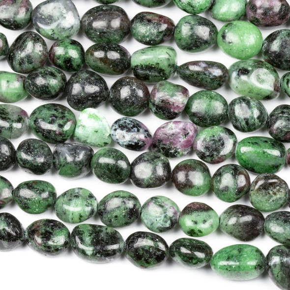 Ruby Zoisite 10x14mm Pebble Beads - 16 inch strand