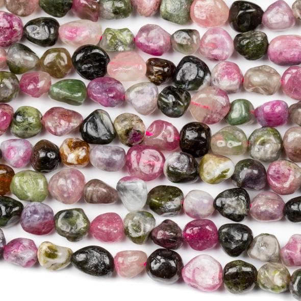 Rainbow Tourmaline 8x10mm Pebble Beads - 16 inch strand