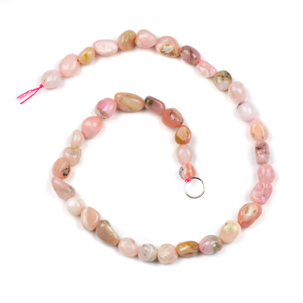 Pink Opal 10x12mm Pebble Beads - 16 inch strand