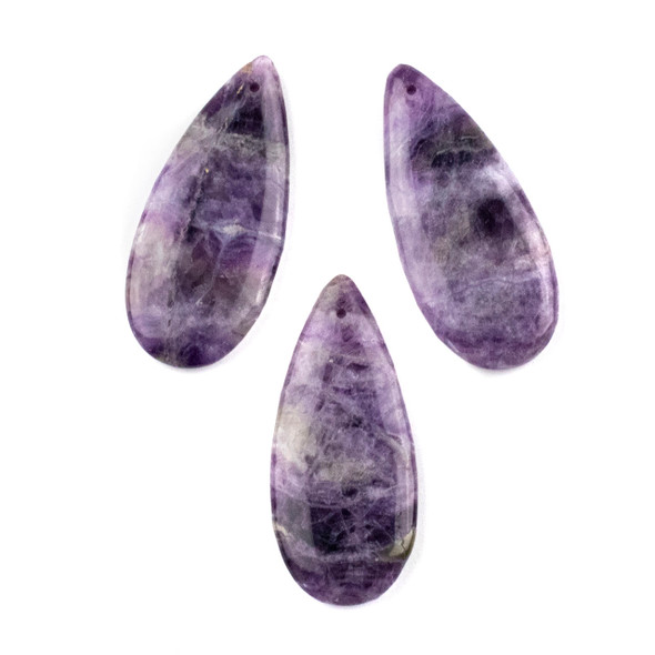 Amethyst 20x45mm Top Front to Back Drilled Teardrop Pendant - 1 per bag