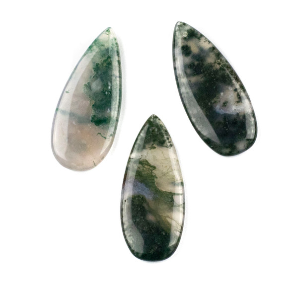 Moss Agate 20x45mm Top Front to Back Drilled Teardrop Pendant - 1 per bag