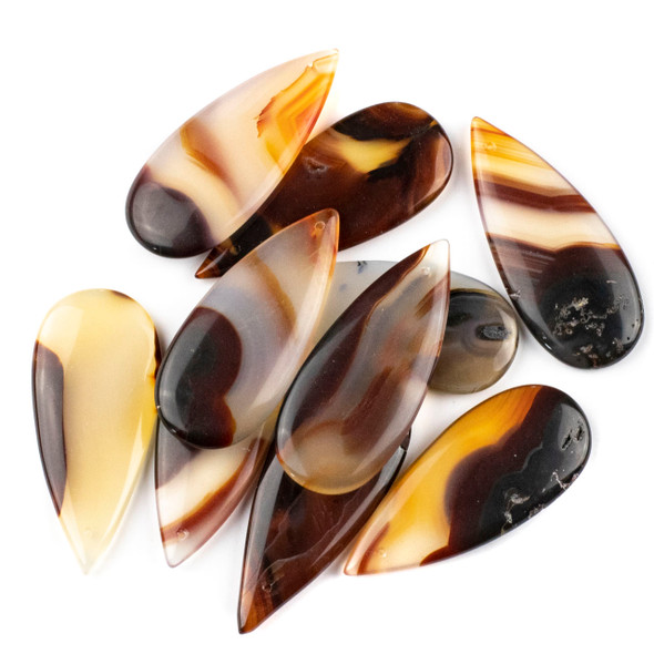 Brown and White Agate 20x45mm Top Front to Back Drilled Teardrop Pendant - 1 per bag
