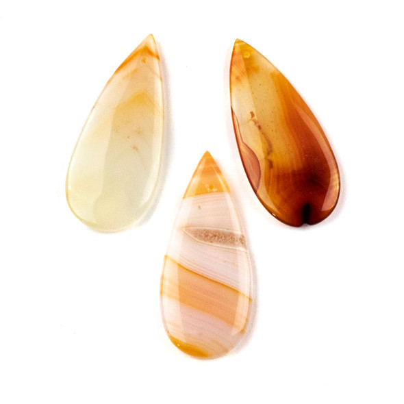Orange and White Agate 20x45mm Top Front to Back Drilled Teardrop Pendant - 1 per bag