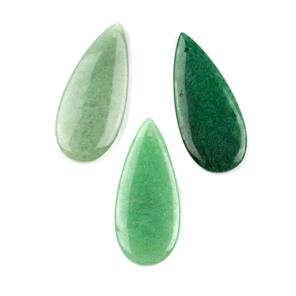 Green Aventurine 20x45mm Top Front to Back Drilled Teardrop Pendant - 1 per bag