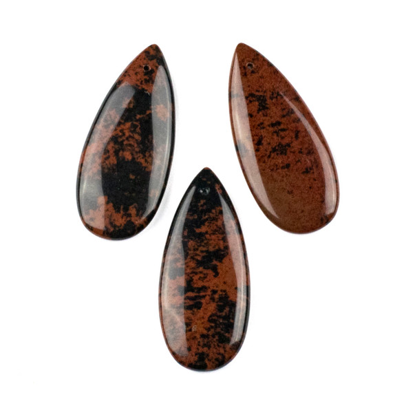 Mahogany Obsidian 20x45mm Top Front to Back Drilled Teardrop Pendant - 1 per bag