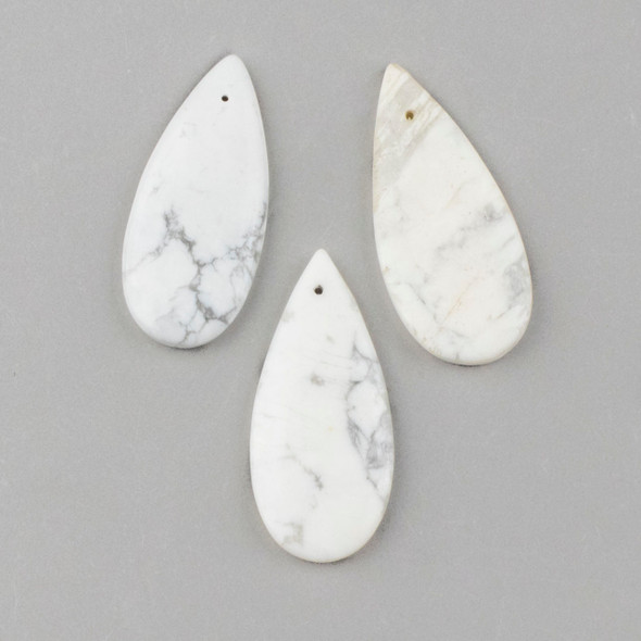 Howlite 20x45mm Top Front to Back Drilled Teardrop Pendant - 1 per bag