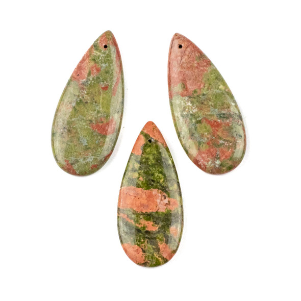 Unakite 20x45mm Top Front to Back Drilled Teardrop Pendant - 1 per bag