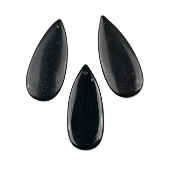 Onyx 20x45mm Top Front to Back Drilled Teardrop Pendant - 1 per bag