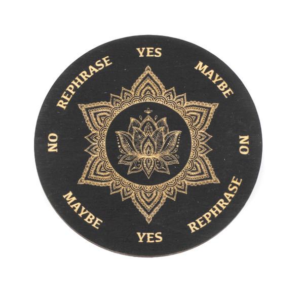 Black Lotus Mandala Pendulum Board - 4 inch, Painted Birch Wood