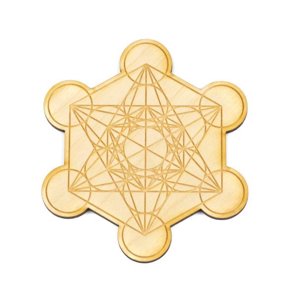 Metatron's Cube Crystal Grid #2 - 4 inch, Birch Wood
