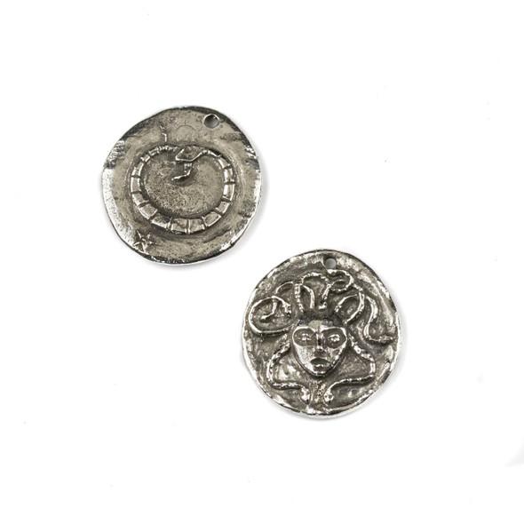 Green Girl Studios Pewter 24x26mm Medusa Coin Pendant - 1 per bag