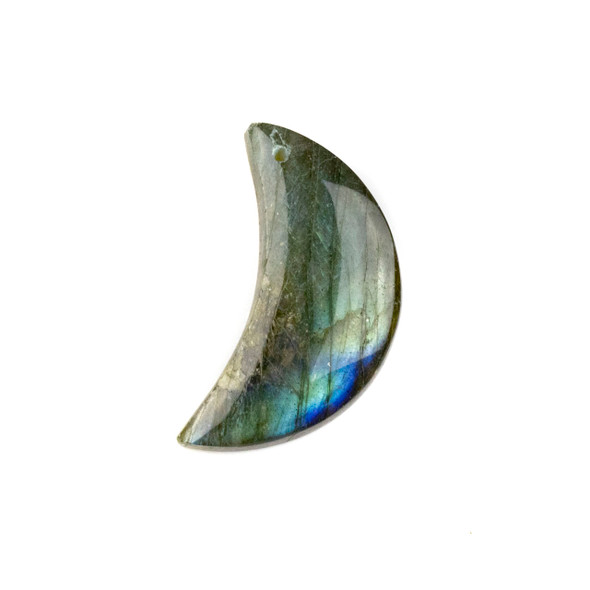 Labrdorite 15-32mm Top Front to Back Drilled Crescent Moon Pendant with a Flat Back - 1 per bag