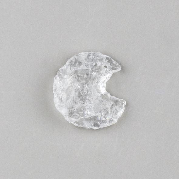 Clear Quartz 22x32mm Rough Cut Moon Pendant - 1 per bag