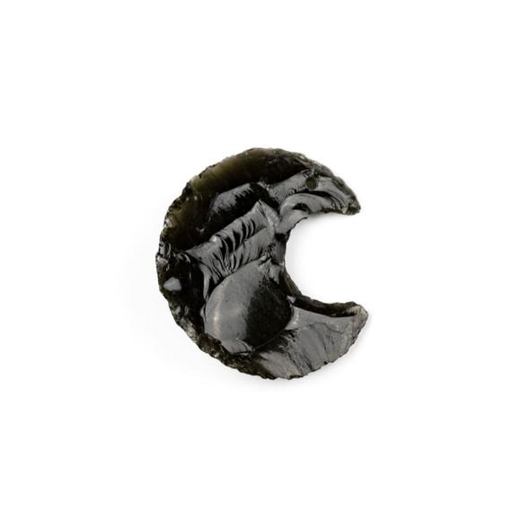 Black Obsidian 22x32mm Rough Cut Moon Pendant - 1 per bag