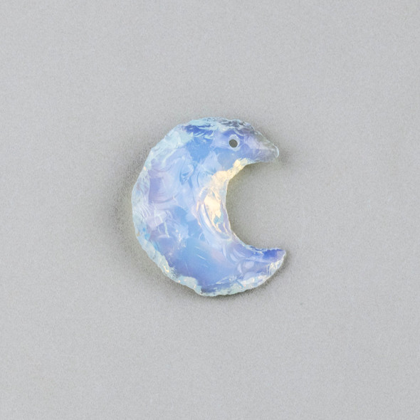 Opaline 22x32mm Rough Cut Moon Pendant - 1 per bag