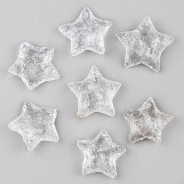 Clear Quartz 25x35mm Rough Cut Star Pendant - 1 per bag