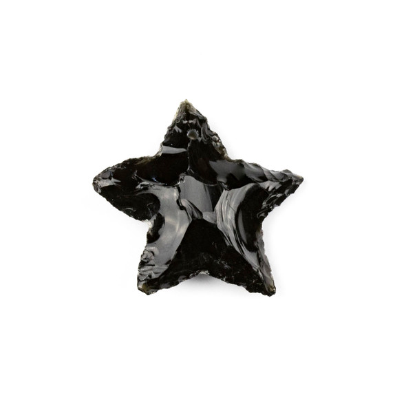 Black Obsidian 25x35mm Rough Cut Star Pendant - 1 per bag
