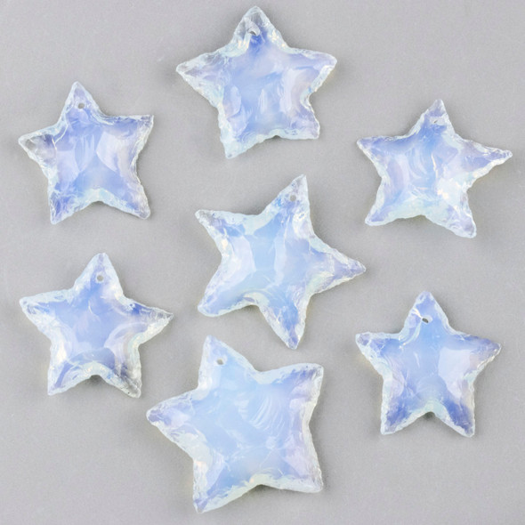 Opaline 25x35mm Rough Cut Star Pendant - 1 per bag